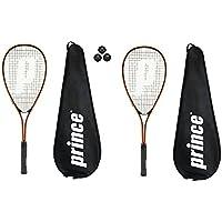 Prince Power PL150 Squash raquetas + 3 pelotas de Squash and Covers