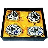 Eye-catching Porcelain Handmade Blue Kumkum/Sindoor Box, Diwali Gifts For Family And Friends