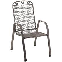 greemotion Stapelstuhl Toulouse 416320, Gartenstuhl aus Streckmetall, Stapelsessel mit Kunststoffummantelung, Stuhl für den Innen- und Außenbereich, die maximale Belastbarkeit des Gartensessel beträgt ca. 110 kg, der Terrassenstuhl hat die Maße von ca.  56 x 69 x 98 cm