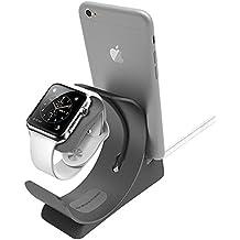 Apple Reloj Soporte 2 en 1 Aluminio, Stand y Estación de Carga para iPhone y Apple Watch, Escritorio Base de carga para Teléfono iPhone iPad y Appel Watch, Gris