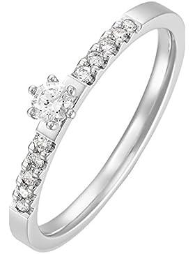 CHRIST Diamonds Damen-Ring 585er Weißgold 1 Diamant 10 Diamant zus. ca. 0,20 ct. (weißgold)