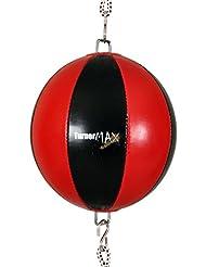 TurnerMAX–Calidad Comba pelota de Boxeo con fijación doble bola bola de D con correas de goma, color rojo/negro