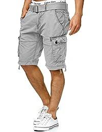Indicode Herren Bolton Cargo Shorts Bermuda Kurze Hose inkl. Gürtel aus  100% Baumwolle Regular 7fffb40843