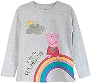 Peppa Pig SIGA el Arco Iris Chicas Manga Larga Camiseta | mercancía Oficial | Edad 2-7, Ropa de los niños, más