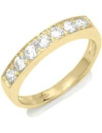 Mariage Bague Femme en Or 18 carats Jaune avec Zircon Blanc