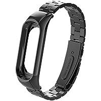 YUYOUG_watch strap Yuyoug per Xiaomi Mi Band 3moda di lusso in acciaio INOX, cinturino da polso metallo braccialetto di sostituzione regolabile sport cinturino, Nero