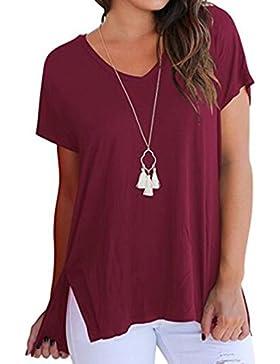 Maistore T-Shirt da Donna Manica Corta Scollo a V Cime Casual Basic Tee