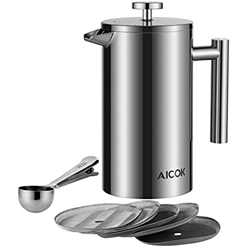 Aicok Caffettiere a Pistone Acciaio Inossidabile French Press, 8 Tazze, 1 L