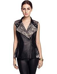 FINEJO Lady Faux Leather Vest Waistcoat Winter Warm Coat Jacket Outwear