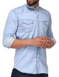 Lafantar Men's Light Blue Washed Cotton Denim Shirt
