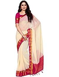 MIMOSA Women's Chiffon Saree With Blouse Piece(4039-2138-2D-HWT-RNI_White_Free Size)