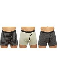 Tom Franks Mens Stripe-Plain Boxer Short Trunk (Pack of 3)