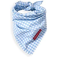 Halstuch Baby viereckig für Kinder Vichy Karo Pascal hellblau auch mit Name (karierte Geburtsgeschenke)