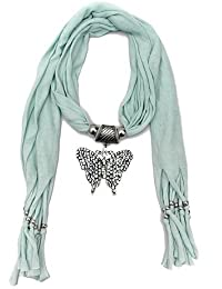 Scarf Necklace California Big Butterfly Stone Crystal Green Necklace Scarf Pendant Scarf Stole Muffler