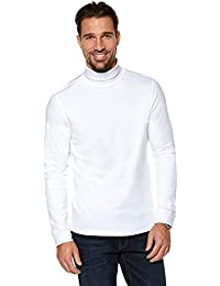 MEN'S ROLL NECK SOFT SUPERIOR QUALITY COTTON LONG-SLEEVE TOPS BLACK & WHITE (Ref:1251)