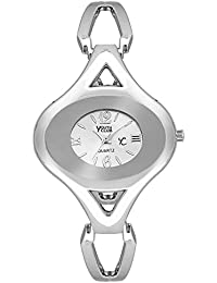 Youth Club Simple Oval Shaped Analog Silver Dial Girl's Watch-KVR-WHT