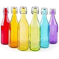 Excelsa Passione Color Juego de 6 Botellas Agua costolate 1 litro