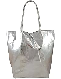 c5c29553c4844 Freyday Damen Echtleder Shopper mit Innentasche in vielen Farben  Schultertasche Henkeltasche Metallic look