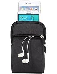 MojiDecor 6,3 Pouce Sac de Ceinture Sac Banane Pochette en Denim Sac de Taille pour Téléphone Portable et Accessoire Electronique (Noir)