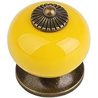 zhjz Retro Mini Ronda Cajón Armario Puerta HandleC (amarillo)