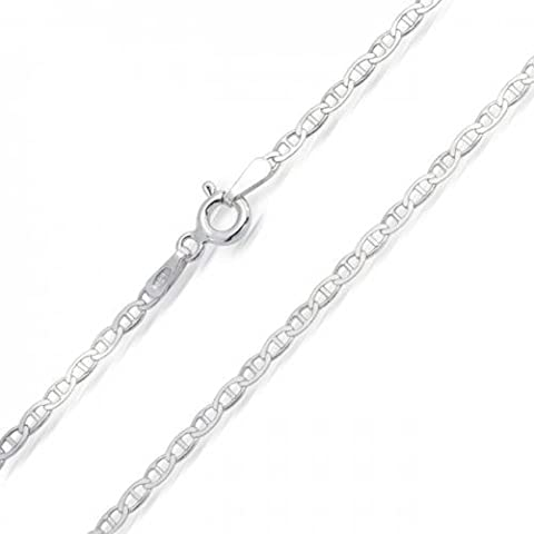 Bling Jewelry Collana Chain Sterling Silver Flat Round Mens Marina