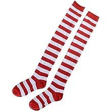 BESTOYARD Medias de rayas rojas y blancas de Navidad sobre calcetines hasta la rodilla para mujeres