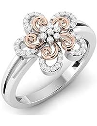 VIJISAN Solid 10K Gold 0.16 CT Round Cut Natural Diamond SI HI Flower Swirl Designer Engagement Ring [VIJISAN_GUPS0987R...