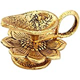 Handicrafts Paradise Chirag Antique Gold Plated Aluminium Diya (10 cm x 8 cm x 6 cm, Golden)