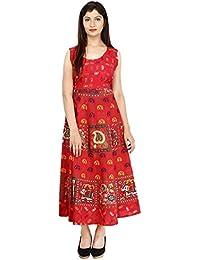 493ae1185e Indian Royal Fashion Women's Cotton Jaipur Skirt Long Length Dress (Red,  Free Size)