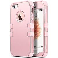 ULAK iPhone 5 case iPhone 5S caso iPhone SE Funda Cases Carcasa Wave hñbrida resistente Suave TPU + PC para el iPhone 5S 5 SE con protector de pantalla y Stylus (Rosa Oro)