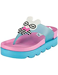 Zachho PinkWhite Imported Rubber Imported Rubber Sole Round Slip On Closure Wedges