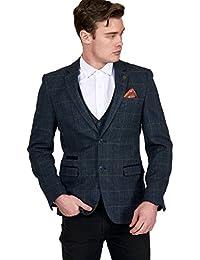 Mens Marc Darcy Designer Blue Multi Tonal Check Tweed Blazer or Waistcoat