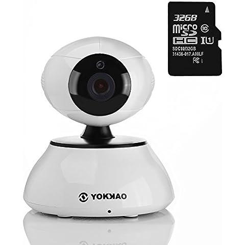 Cámara IP inalámbrica Yokkao®, Cámara de Vigilancia para bebé 720p HD 5x Zoom Digital H.264 con Sensor de movimiento y Visión Nocturna Función Walkie Talkie WIFI con Control Remoto Tarjeta Micro SD 32GB - color