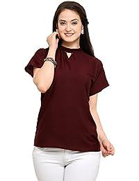 J B Fashion Women's Plain Regular Fit Top (Vrati-Maroon-chaina-L_Red_Large)