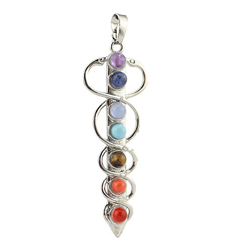 Contever 7 Beads Chakra Charm Stone Sword Pendant for Necklace Making 20mm * 58mm