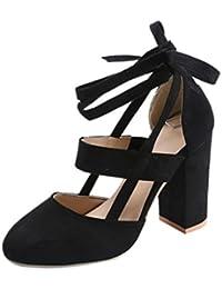 Minetom Sexy Eté Sandales Hautes Femme Sandales Daim Cuir Lacées Talon  Carrés Couleur Unie High Heels