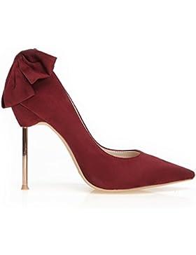 pelle artificiale arco metallico appuntito scarpe con tacchi alti donne single scarpa matrimonio scarpe,36, vino...