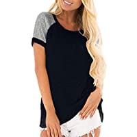 GAGA Women Summer Short Sleeve Round Neck Loose Shirt Printed Raglan Baseball Tops Black L