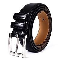 "Mile High Life | Genuine Leather | Classic Dress Belt | Width 1 1/4"" | Classic Nickel Pin Buckle (Black, Waist 46"")"
