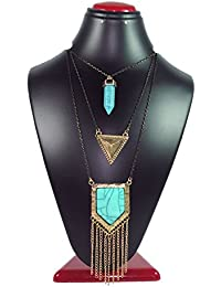 Joovaa Gold Plated Turquoise Multi Layered Chain Necklace For Girls