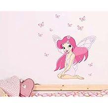 Winhappyhome rosada de la mariposa de hadas Niños pegatinas de pared para chicas Habitación Sala fondo del sofá TV Etiqueta Decoración para el Hogar extraíble Mural Vinilos