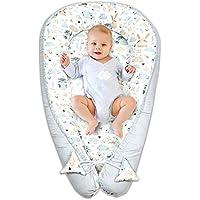 nido bebe recien nacido - reductor de cuna nidos para bebes cojin colecho blanco y gris con búhos y conejitos 90 x 50 cm
