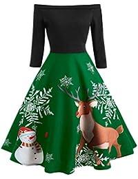 TIMEMEANS Robe Femme de Noël avec épaules dénudées et Robe de soirée Vintage