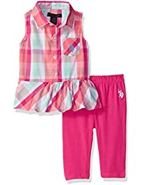 cf69eb7c38fbfb U.S. Polo Assn. Baby Girls Fashion Top Set Peplum Plaid Tank Knit Capri  Legging Fuchsia