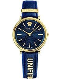 Versace Women's 'MANIFESTO EDITION' Swiss Quartz Gold-Tone and Leather Casual Watch, Color:Blue (Model: VBP030017)