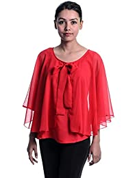 7d54969dd3e88 Timbre Women s Partywear Red Cape Top With Inner Lining