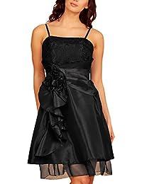 My Evening Dress Robe de soirée longueur genoux en taffeta et volants en dentelle superposés