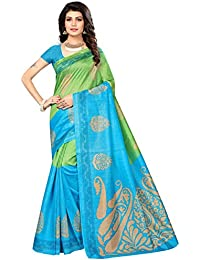 Fab Women Silk Saree with Blouse Piece (Fab1211_Green_Free Size)
