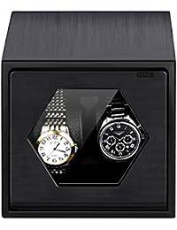 Caja Carga de Reloj, FLOUREON Enrollador de Aluminio, Reloj de Carga con Motor Automático, Caja de Reloj Portátil con Pantalla, Reloj de Carga 2, Color Negro