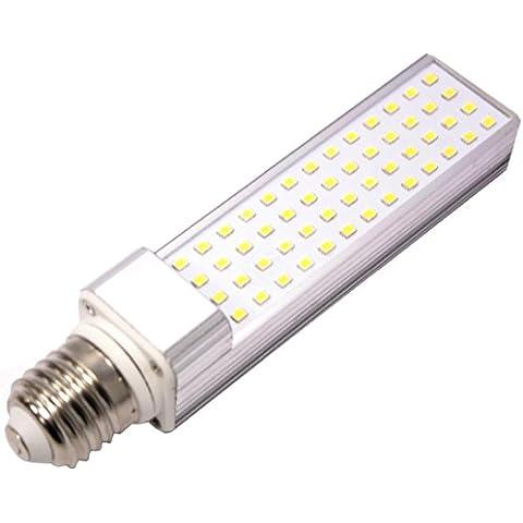 Cablematic - Lámpara tubo LED PLC E27 85-265VAC 10W luz cálida bombilla